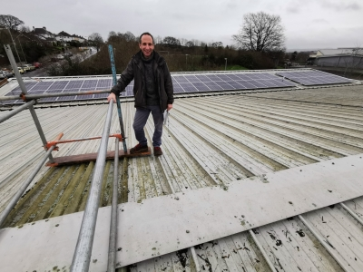 ECOE director and solar PV3 project manager Andy Extance with the installation at The Beacon Community Centre in 2020