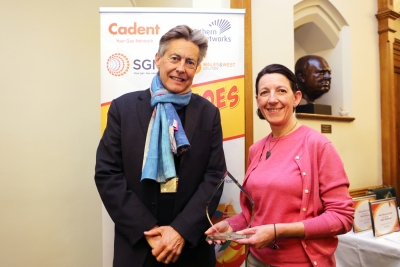 Tara Bowers from Exeter Community Energy with Exeter MP Ben Bradshaw, receiving her Heat Hero Award in 2020