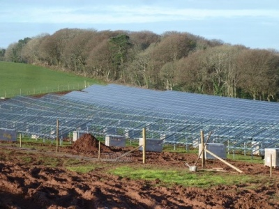 Newton Downs Solar Farm during construction from Yealm Community Energy